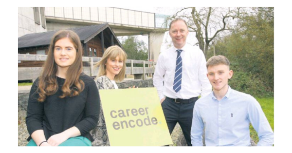 Pictured are (l-r) Bronagh Gallagher, Apprentice Software Engineer, FP McCann; Camilla Long, Director of Bespoke Communications and independent facilitator for Career Encode; Brian Law, IT Manager; Ronan Rafferty, Apprentice Software Engineer, FP McCann, one of the participating Career Encode companies offering IT Apprenticeships